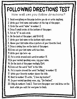 Following Directions Worksheet Trick New Following Directions Test by Classroom Collaboration