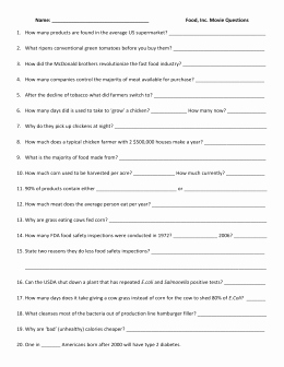 "Food Inc Movie Worksheet Answers Lovely ""food Inc "" Movie Questions"