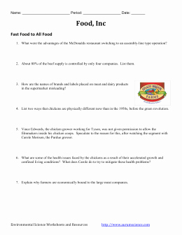 "Food Inc Movie Worksheet Awesome ""food Inc "" Video Activity"