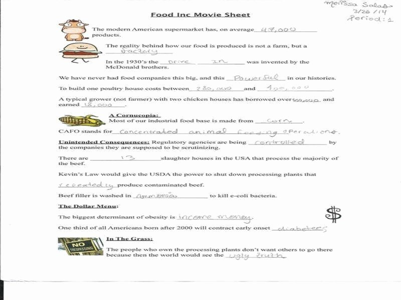 Food Inc Movie Worksheet Fresh Food Inc Movie Worksheet