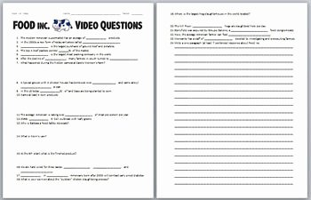 Food Inc Movie Worksheet Fresh Food Inc Video Worksheet by Biology Zoology forensic