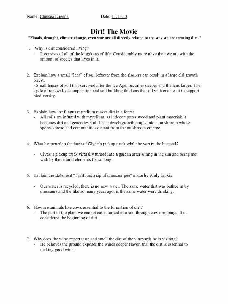 Food Inc Worksheet Answers Awesome Dirt the Movie Worksheet