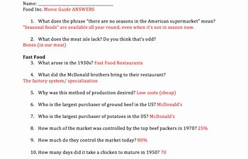 Food Inc Worksheet Answers Beautiful Food Inc Movie Guide Answers by Mrs History