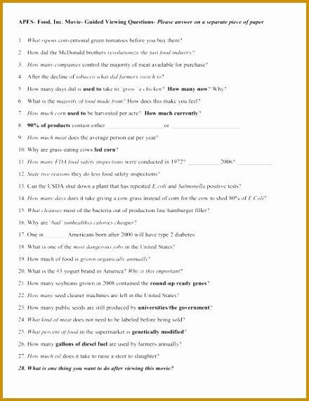 Food Inc Worksheet Answers Inspirational 7 Food Inc Movie Worksheet Answers