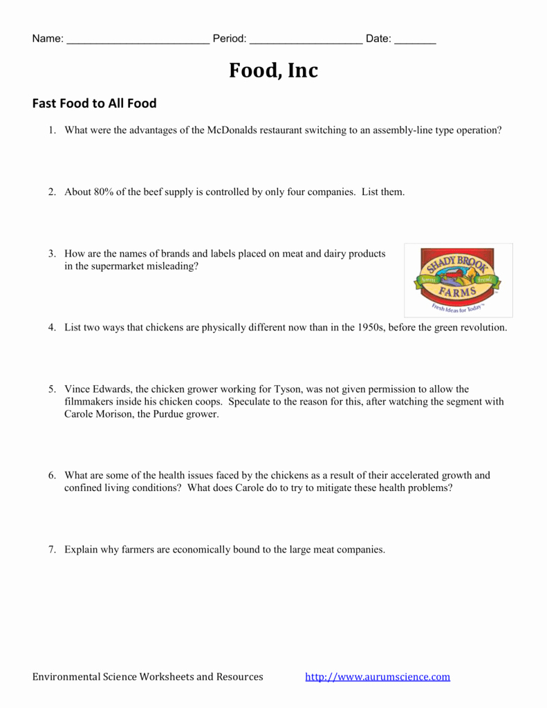 Food Inc Worksheet Answers Inspirational Food Inc Video Worksheet