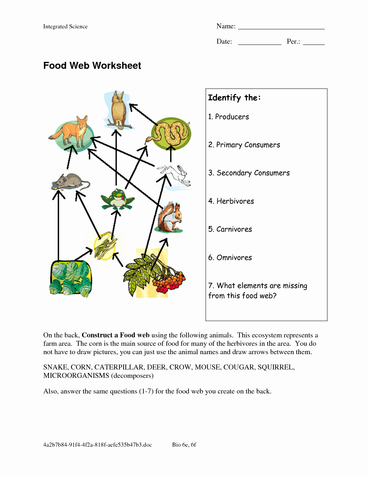 Food Web Worksheet Answer Key Luxury Food Web Worksheets