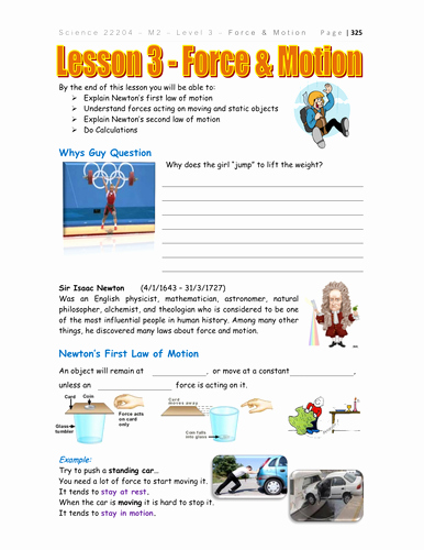 Force and Motion Worksheet Answers Awesome force and Motion Physics by Teacher Rambo Teaching