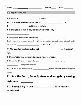 Force and Motion Worksheet Answers Beautiful Bill Nye Motion Guide Sheet by Jjms