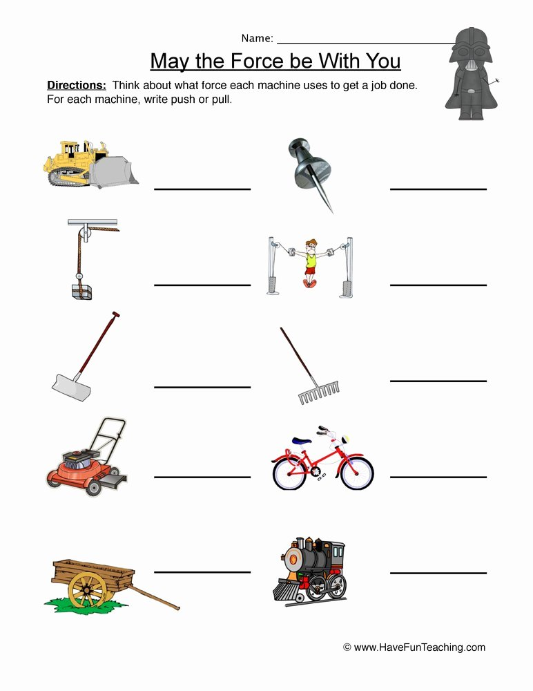 Force and Motion Worksheet Answers Luxury Science Worksheets Resources