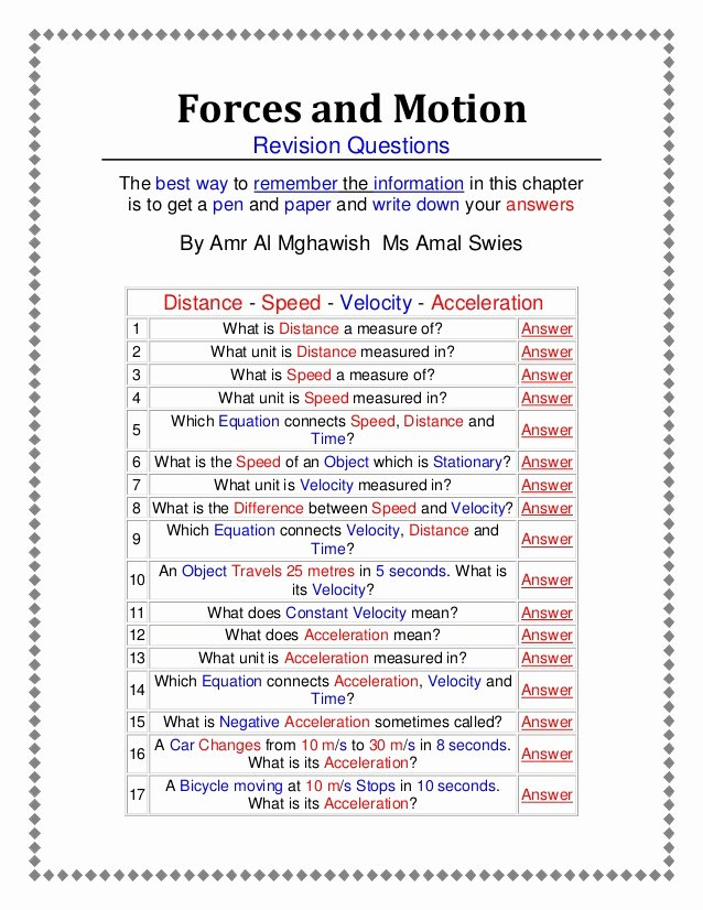 Force and Motion Worksheet Answers New forces and Motion