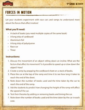 Forces and Motion Worksheet Awesome forces In Motion Fun 4th Grade Science Activity sod
