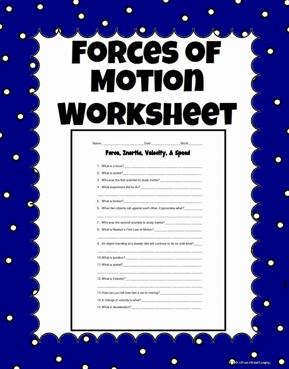 Forces and Motion Worksheet Beautiful Worksheets force and Motion and 5th Grades On Pinterest