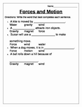 Forces and Motion Worksheet Best Of forces and Motion 2nd Grade Science