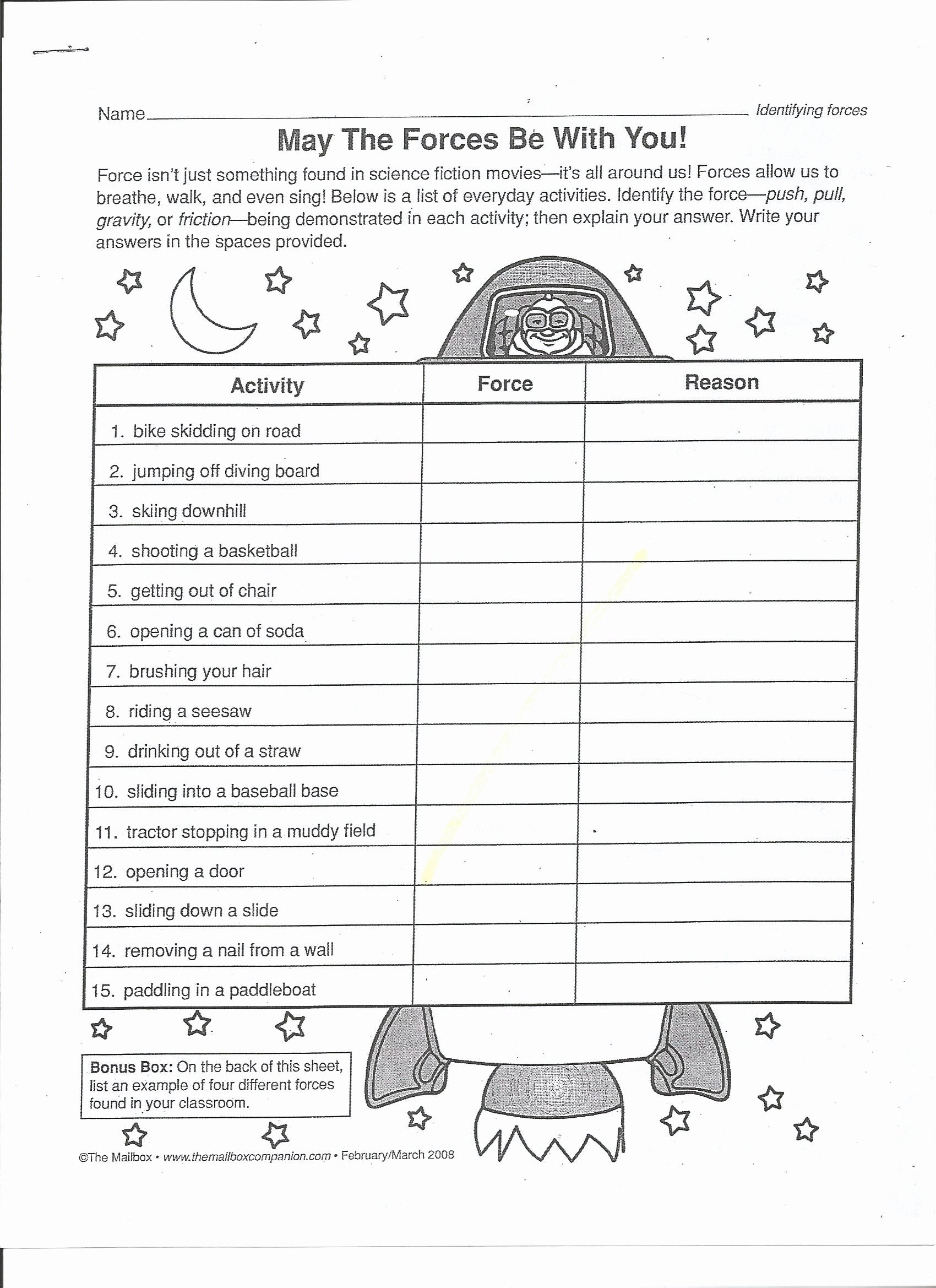 Forces and Motion Worksheet Elegant Balanced and Unbalanced forces Worksheet 3rd Grade