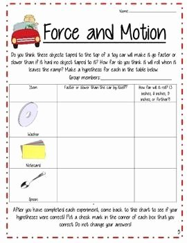 Forces and Motion Worksheet Elegant force and Motion Lesson with Stem Centers