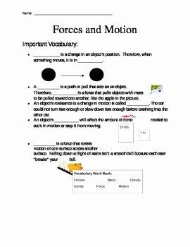 Forces and Motion Worksheet Elegant forces and Motion Worksheet by Mrsdonovan