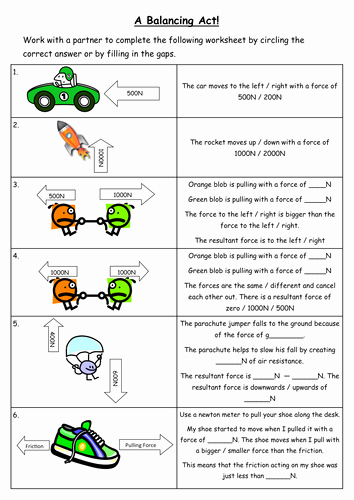Forces and Motion Worksheet Elegant Resultant force Worksheet by Chempixie Teaching