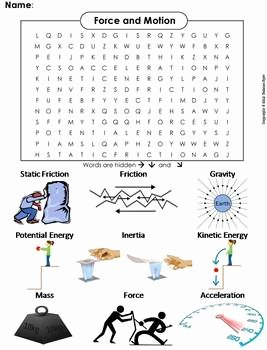 Forces and Motion Worksheet Lovely force and Motion Worksheet Word Search by Science Spot