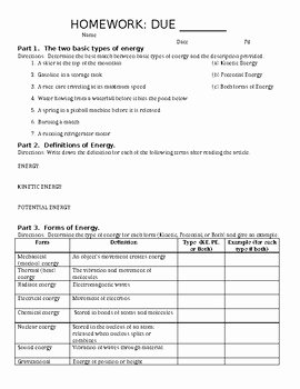 Forces and Motion Worksheet Luxury Intro to Energy Worksheet or Homework Energy forces