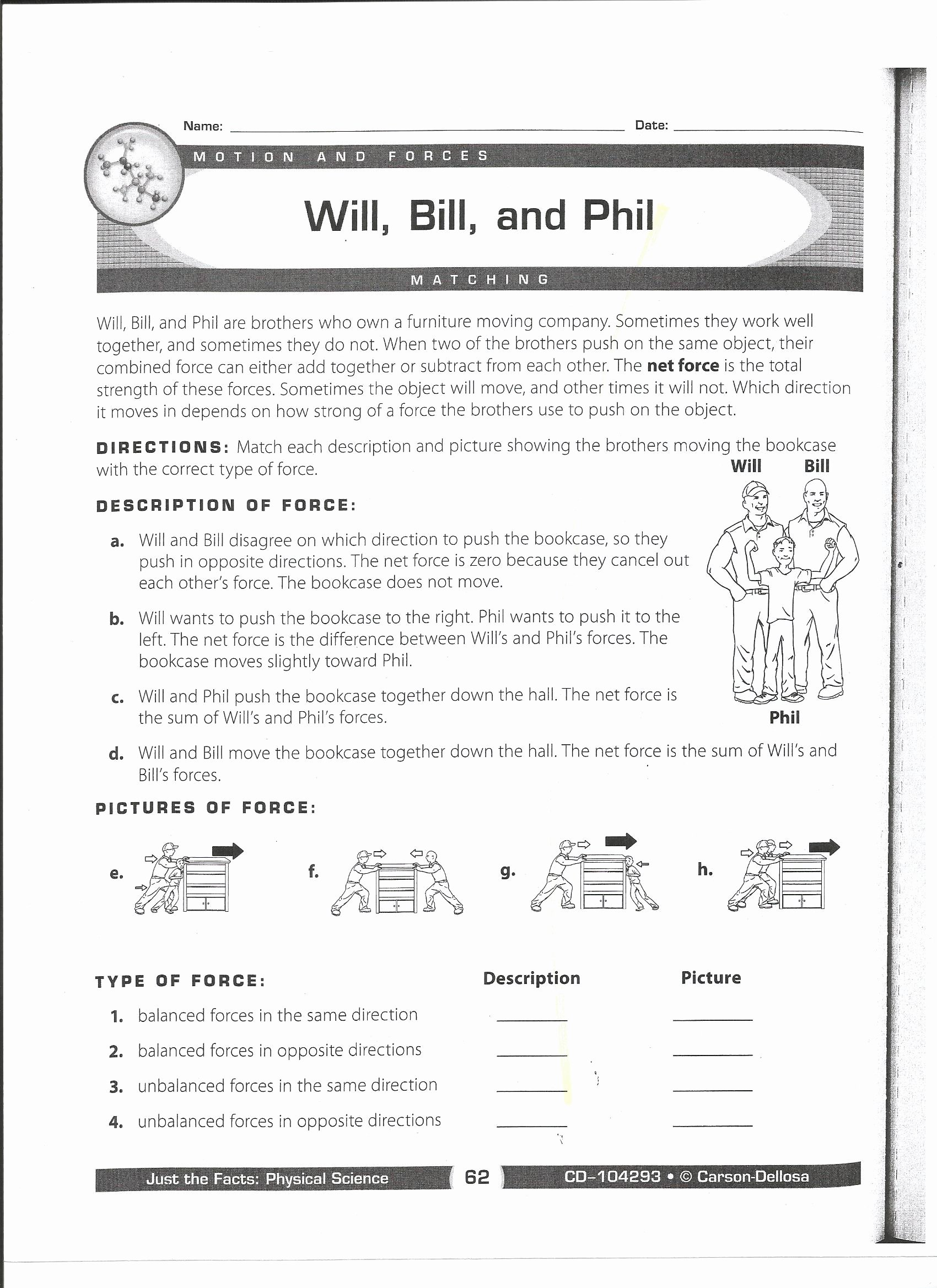 Forces and Motion Worksheet New force and Motion Mrs Wells Class