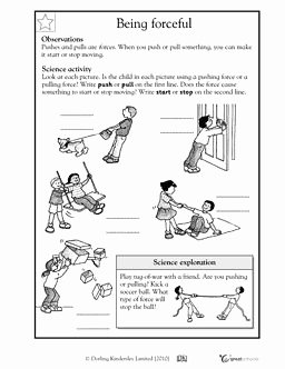Forces and Motion Worksheet New Here S A Handout for K 1 On forces