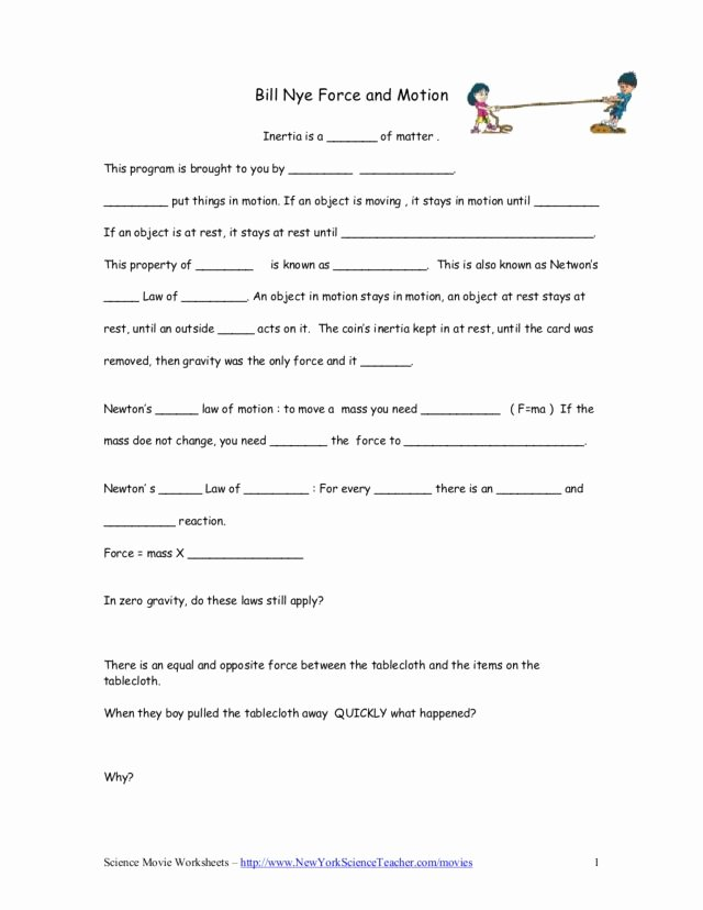 Forces and Motion Worksheet Unique Bill Nye force and Motion Worksheet for 5th 9th Grade