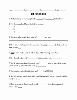 "Forces Worksheet 1 Answer Key Fresh Bill Nye ""friction"" Worksheet with Answer Key by Evelyn"