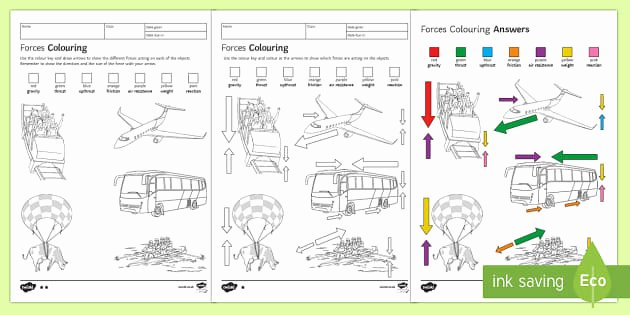 Forces Worksheet 1 Answer Key Lovely forces Colouring Homework Worksheet Activity Sheet