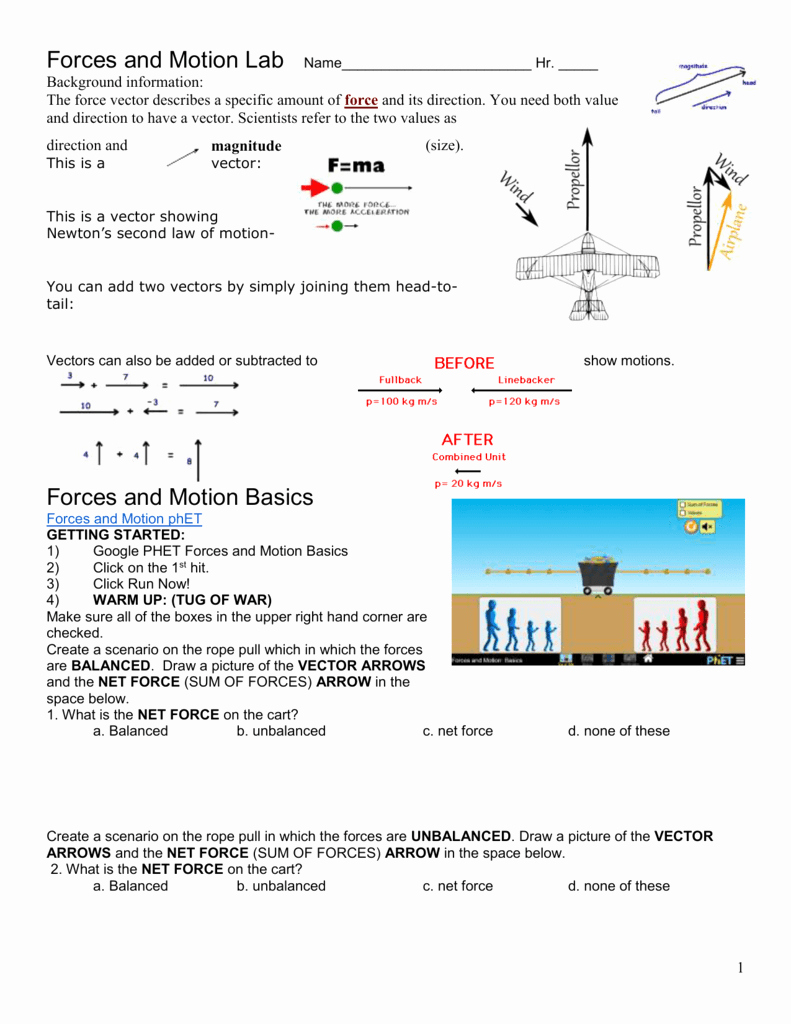 Forces Worksheet 1 Answer Key Luxury forces Motion and Moving Man Phet Simulation