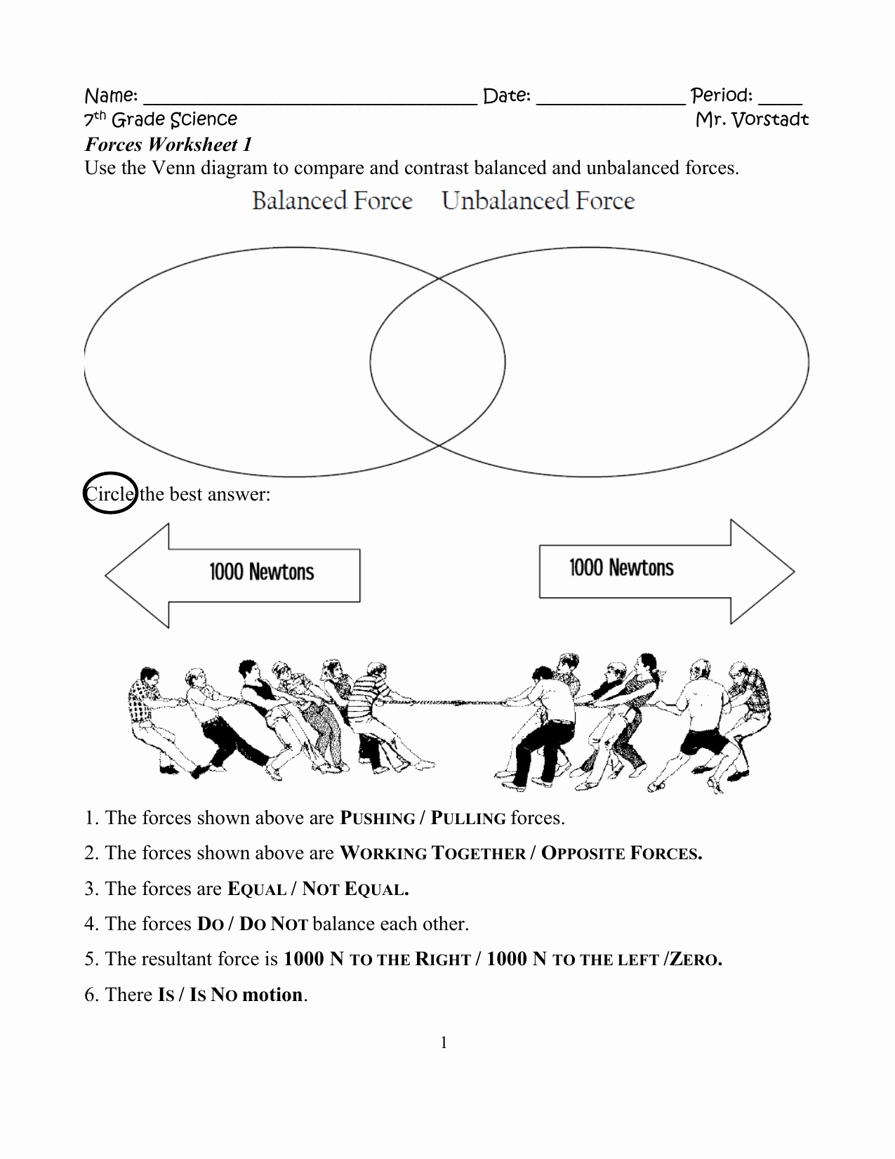 Forces Worksheet 1 Answer Key New Balanced Unbalanced forces Worksheet the Best Worksheets