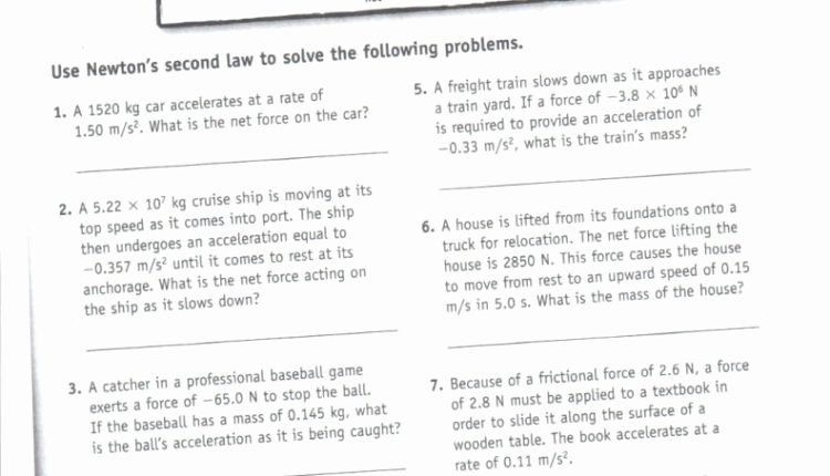 Forces Worksheet 1 Answer Key Unique Unbelievable Newton S Nd Law Worksheet and Key