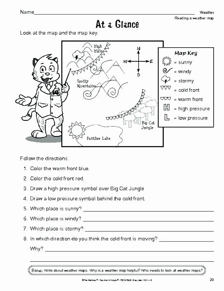 Forecasting Weather Map Worksheet 1 Elegant Free Weather Worksheets for 2nd Grade