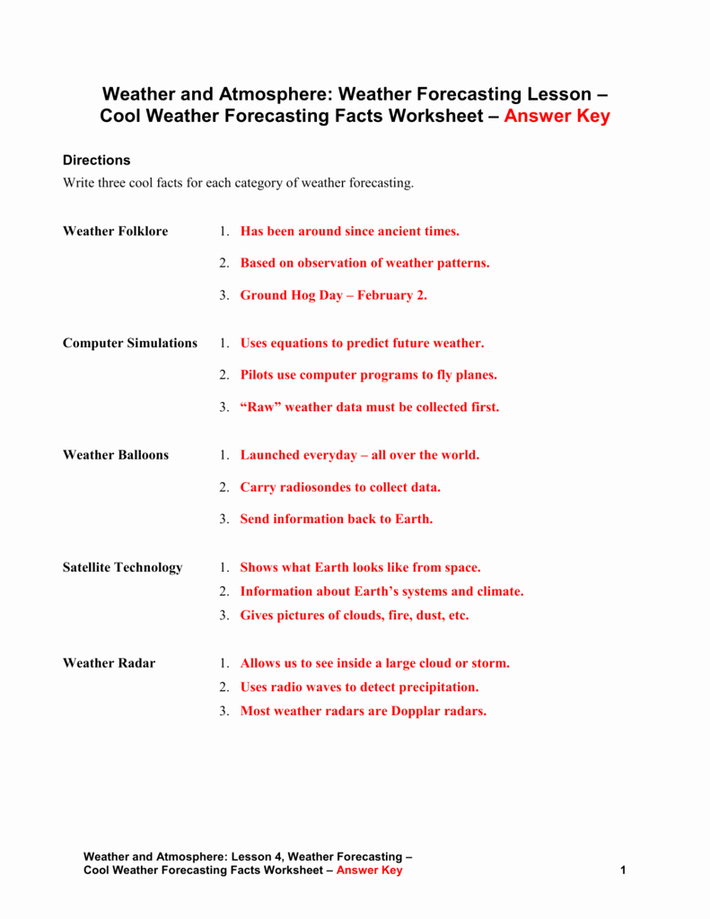 Forecasting Weather Map Worksheet 1 Fresh Cool Weather forecasting Facts – Answer Key