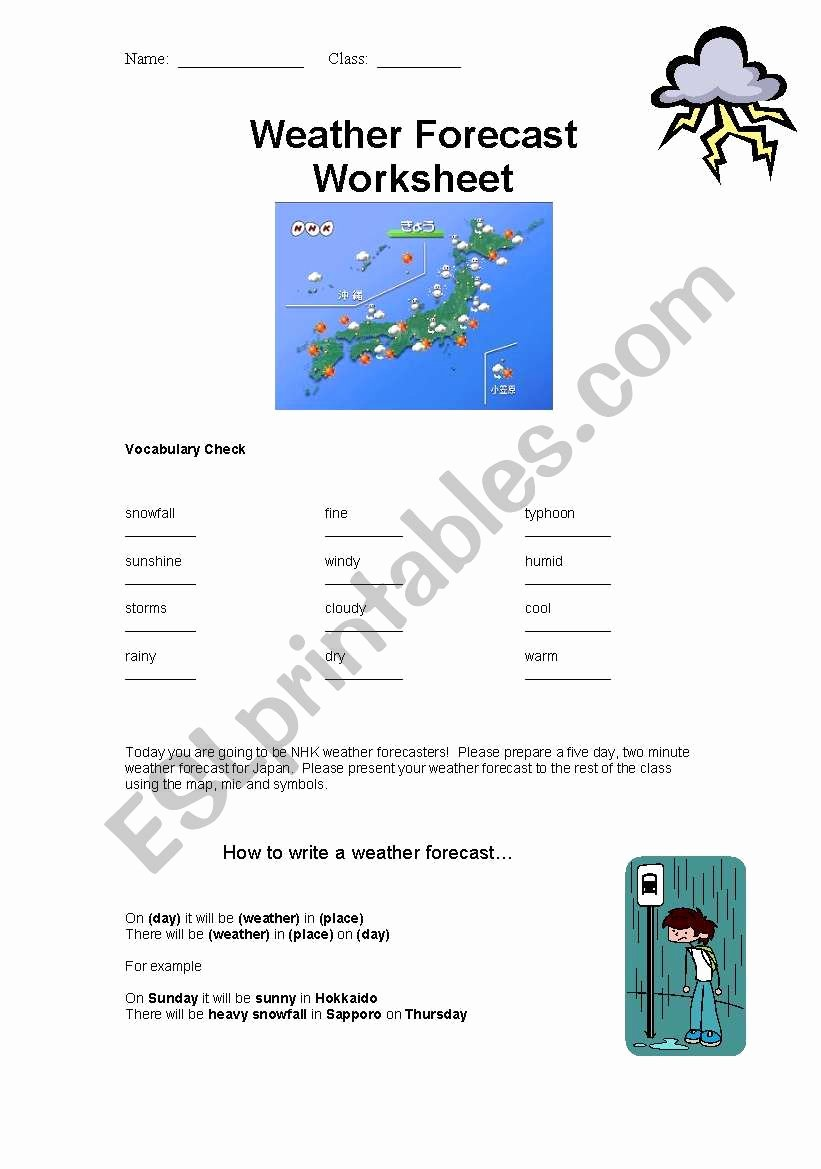 Forecasting Weather Map Worksheet 1 Fresh Weather forecasting Lesson Esl Worksheet by Lostgaijin