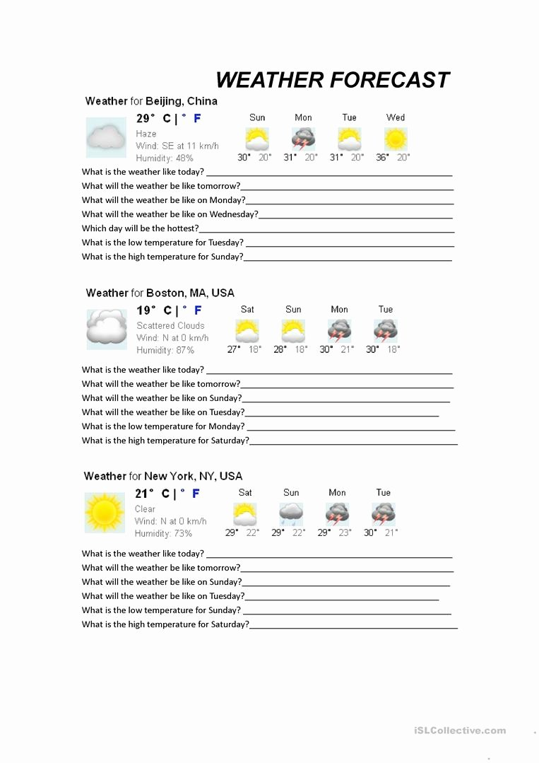 Forecasting Weather Map Worksheet 1 Lovely Weather forecast Worksheet