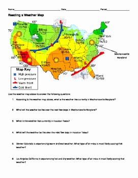 Forecasting Weather Map Worksheet 1 New Ngss Ms Hs Weather and Climate Reading A Weather Map