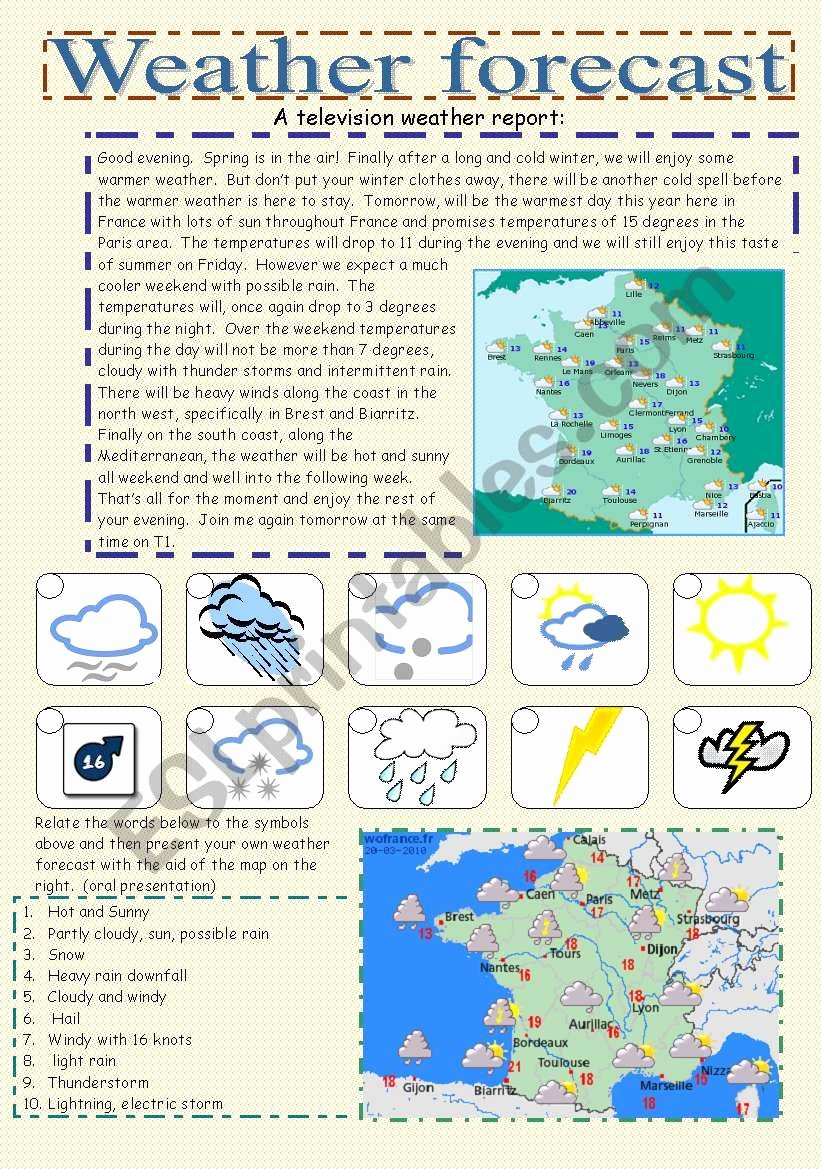 Forecasting Weather Map Worksheet 1 New Weather forecast Esl Worksheet by Cornelianes