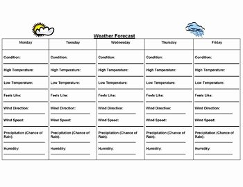 Forecasting Weather Map Worksheet 1 Unique Weekly Weather forecast Worksheet by Growing Potential