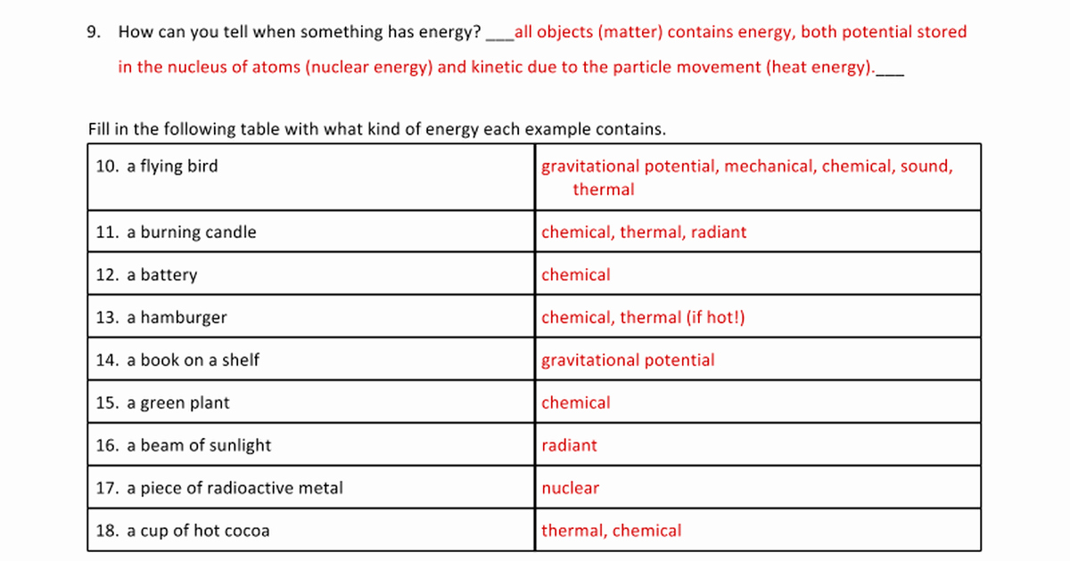 Forms Of Energy Worksheet Answers Awesome Answers Energy Types and Transformations Worksheets