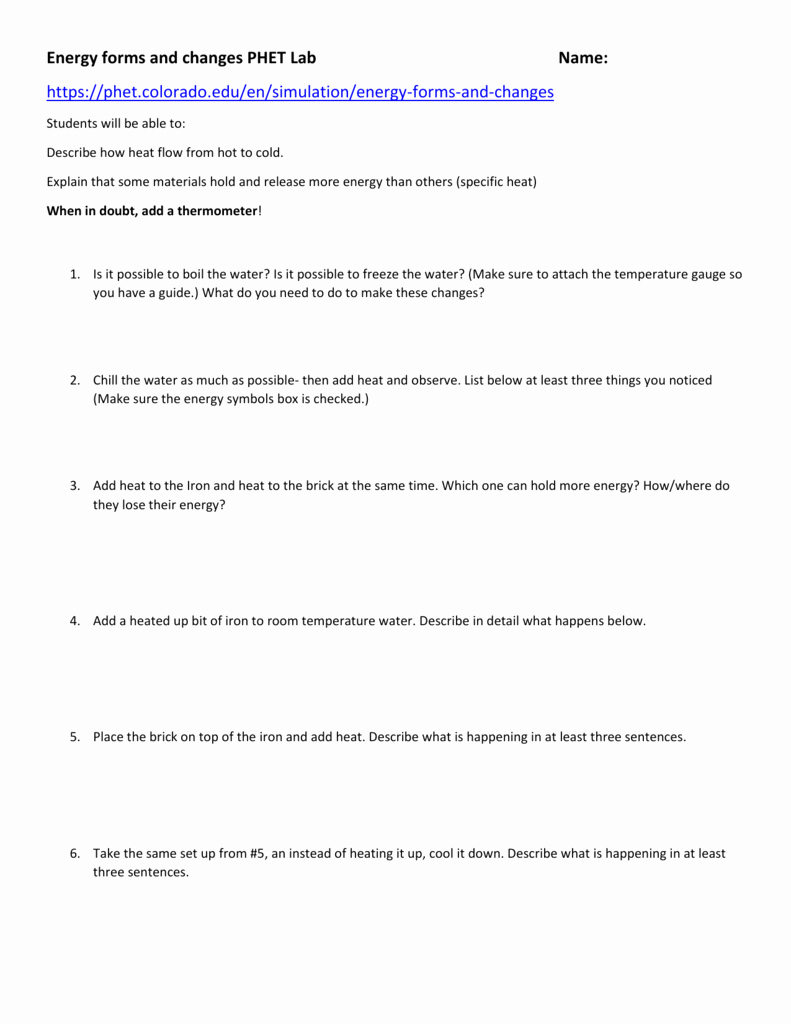 Forms Of Energy Worksheet Answers Awesome Energy forms and Changes Simulation Worksheet Answers