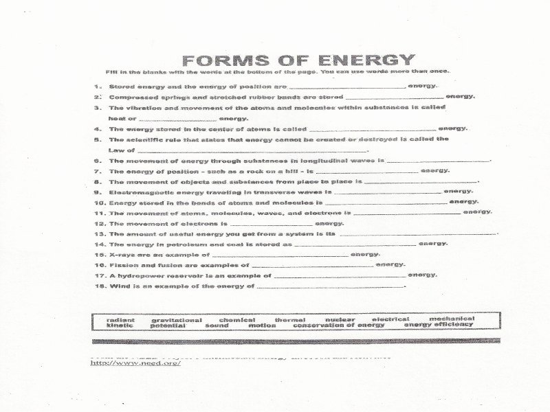 Forms Of Energy Worksheet Answers Awesome forms Energy Worksheet Answers Free Printable Worksheets