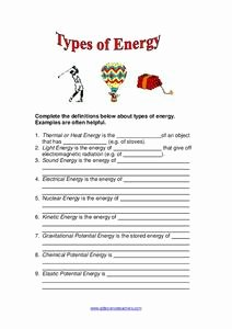 Forms Of Energy Worksheet Beautiful Types Of Energy Worksheet for 2nd 5th Grade