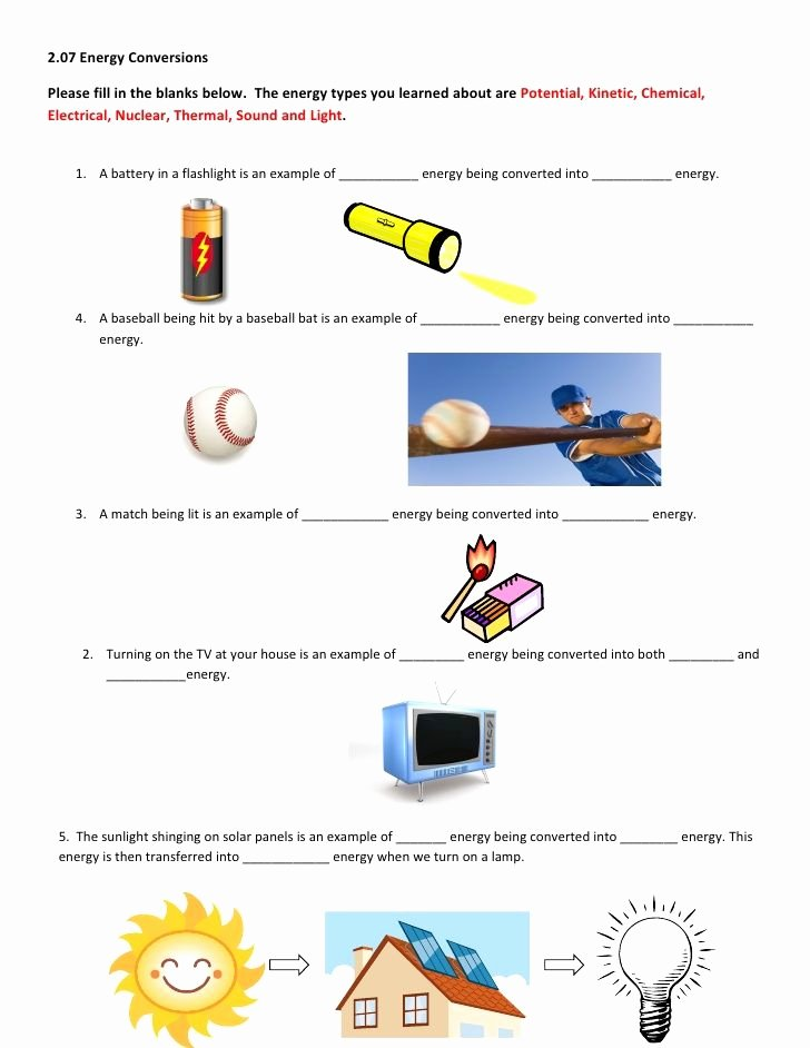 Forms Of Energy Worksheet Inspirational 2 07 Energy Conversions Please Fill In the Blanks Below