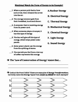 Forms Of Energy Worksheet New 10 Best Images About Energy Transformations On Pinterest