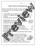 Forms Of Energy Worksheet Unique forms Energy Worksheets Teaching Resources