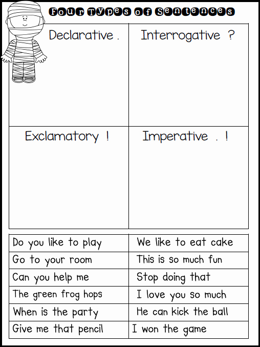 Four Types Of Sentences Worksheet Awesome First Grade Fairytales Mummy Sentences & A Freebie