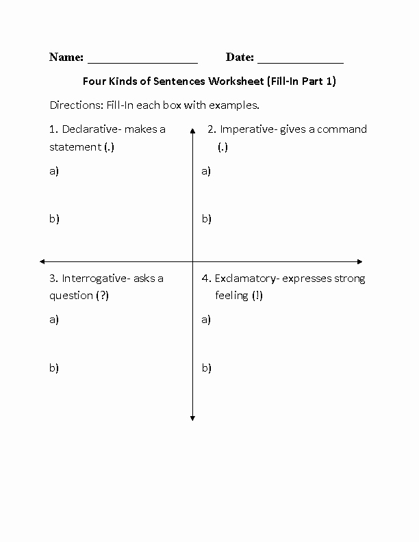 Four Types Of Sentences Worksheet Beautiful Englishlinx