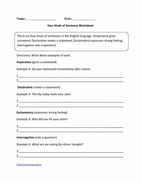 Four Types Of Sentences Worksheet Best Of Four Kinds Of Sentence Worksheet Worksheet for 8th Grade
