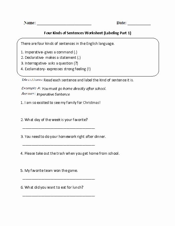 Four Types Of Sentences Worksheet Best Of Sentences Worksheets