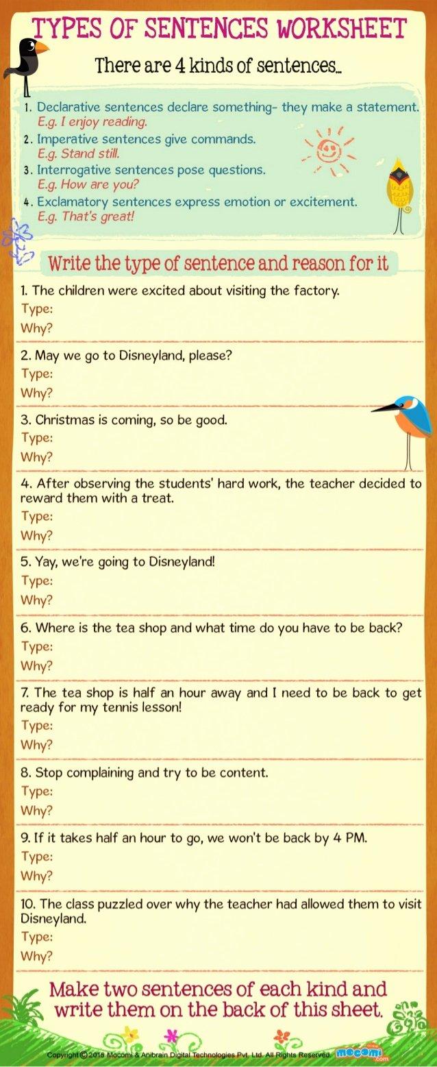 Four Types Of Sentences Worksheet Lovely Types Of Sentences Worksheet for Kids Mo I